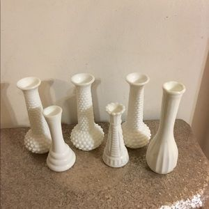 6 Milk Glass Bud Vases